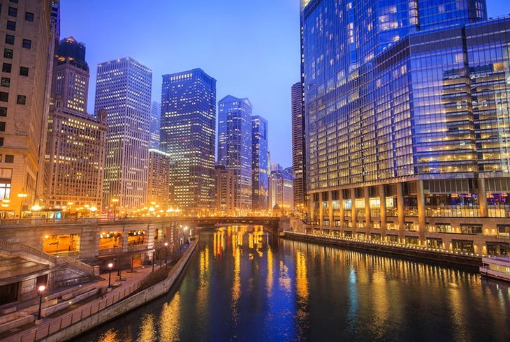 Chicago River Architecture Night Generic