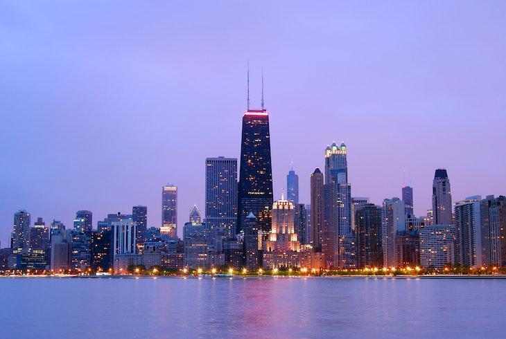 Chicago Skyline Sunset