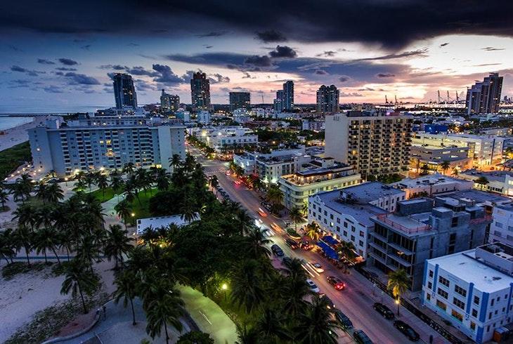 Miami Beach Sunset Aerial