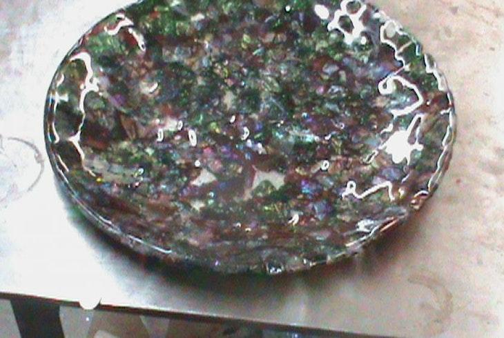 V Glass Judaica Class Menorahs Seder And Challah Plates 19015