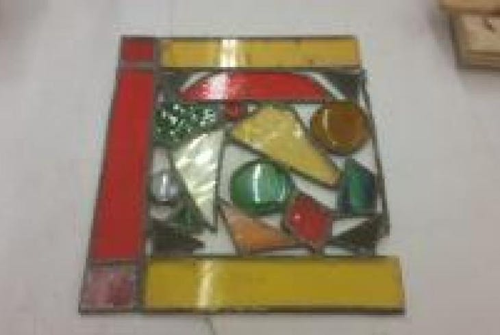 V Stained Glass Suncatcher Or Decorative Mirror 3759